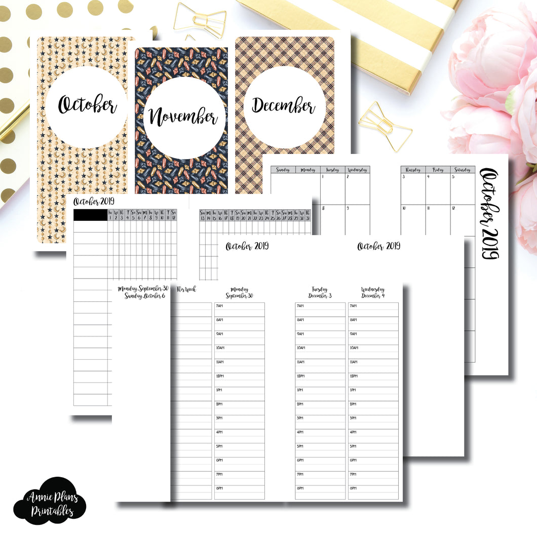 Personal Rings Size | OCT - DEC 2019 | Week on 4 Pages (Monday Start) TIMED Vertical Layout | Printable Insert ©