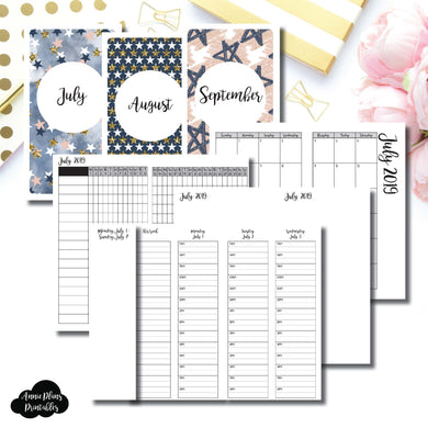 Personal TN Size | JUL - SEP 2019 | Week on 4 Pages (Monday Start) TIMED Vertical Layout | Printable Insert ©