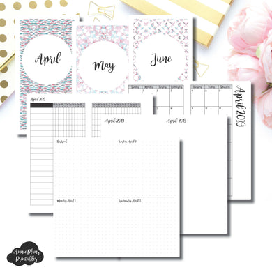Standard TN Size | APR - JUN 2019 | Week on 4 Pages (Monday Start) Horizontal Layout | Printable Insert ©