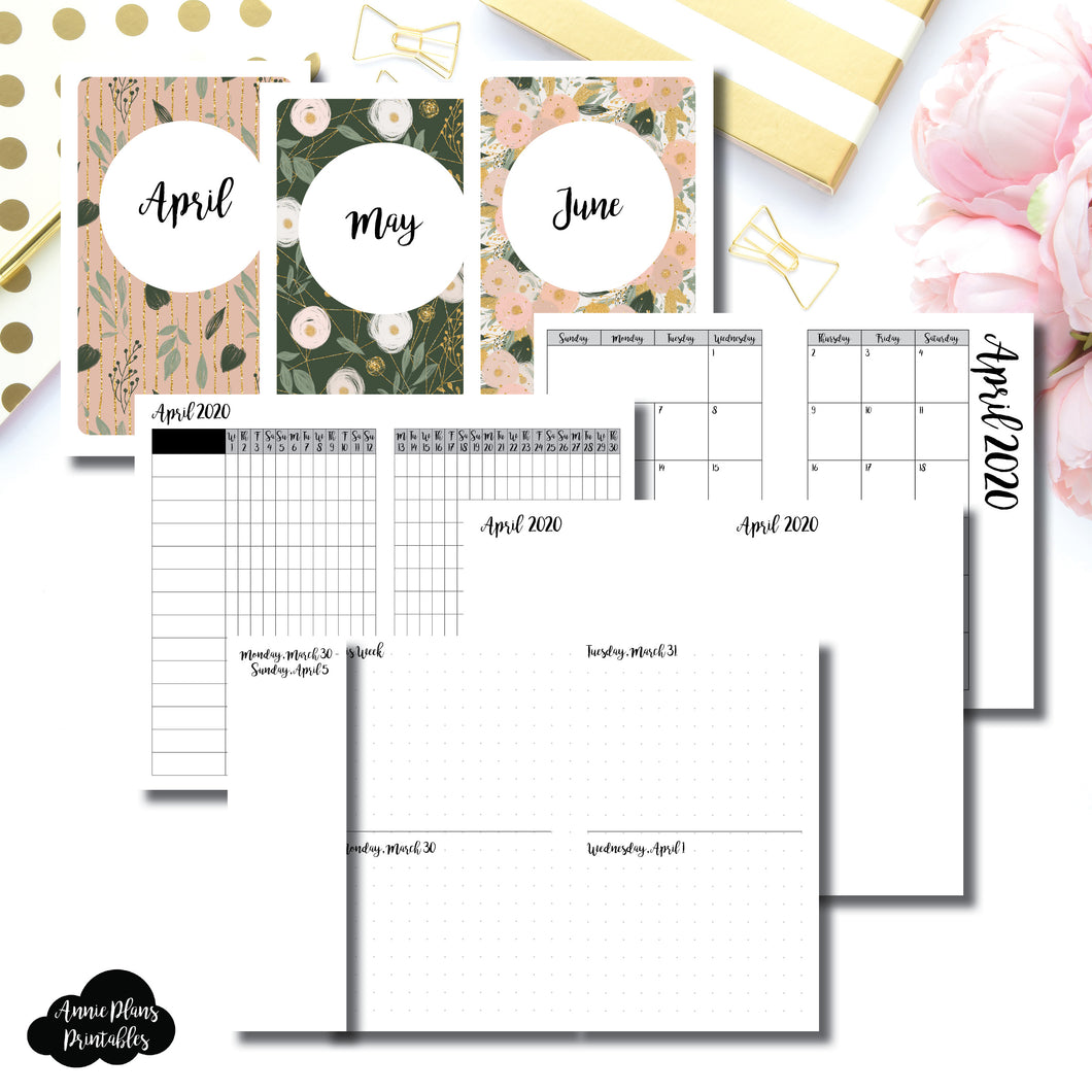 Pocket TN Size | APR - JUN 2020 | Week on 4 Pages (Monday Start) Horizontal Layout | Printable Insert ©