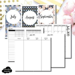 Standard TN Size | JUL - SEP 2019 | Week on 4 Pages (Monday Start) Vertical Layout | Printable Insert ©