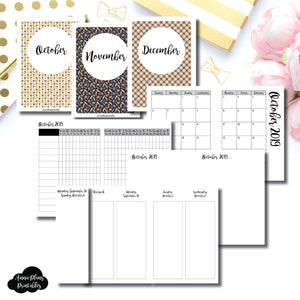 Passport TN Size | OCT - DEC 2019 | Week on 4 Pages (Monday Start) Vertical Layout | Printable Insert ©