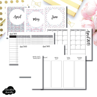 Passport TN Size | APR - JUN 2019 | Week on 4 Pages (Monday Start) Vertical Layout | Printable Insert ©