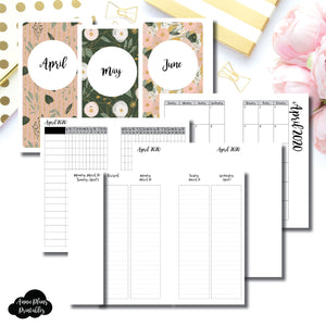 Personal Rings Size | APR - JUN 2020 | Week on 4 Pages (Monday Start) LINED Vertical Layout | Printable Insert ©