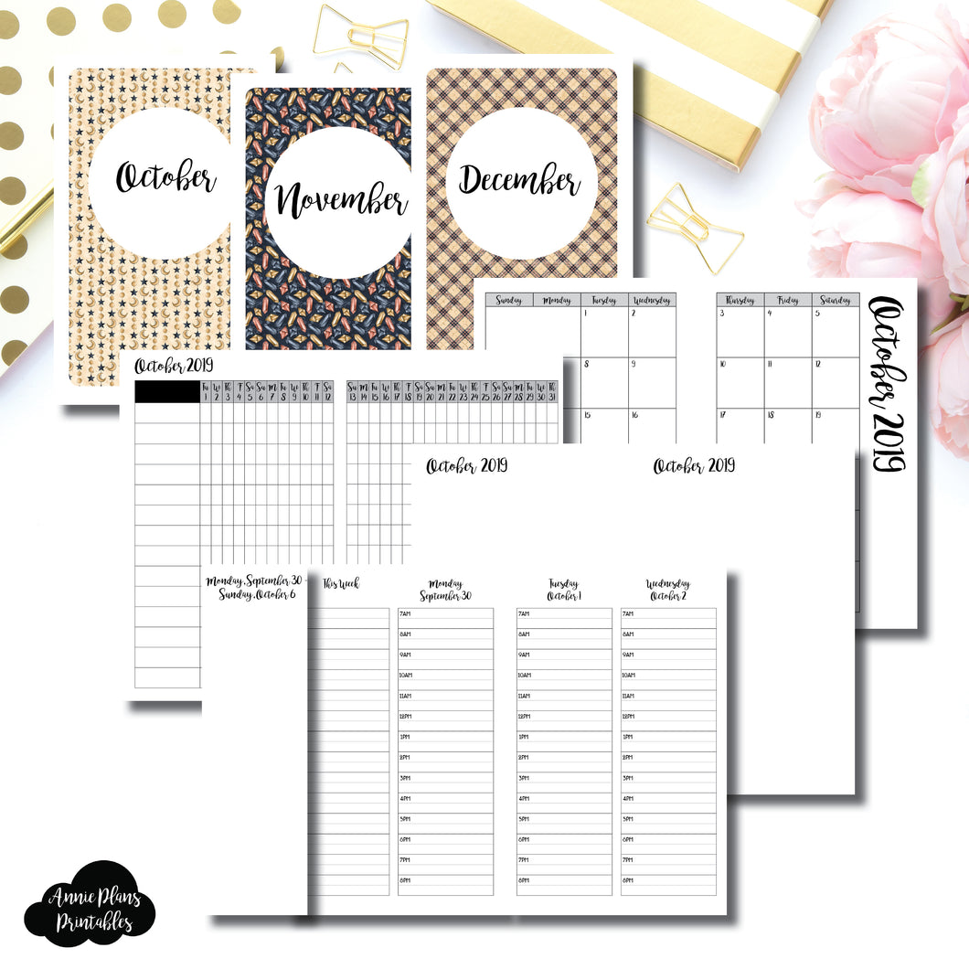 Pocket TN Size | OCT - DEC 2019 | Week on 4 Pages (Monday Start) TIMED Vertical Layout | Printable Insert ©