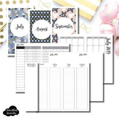 Personal TN Size | JUL - SEP 2019 | Week on 4 Pages (Monday Start) LINED Vertical Layout | Printable Insert ©