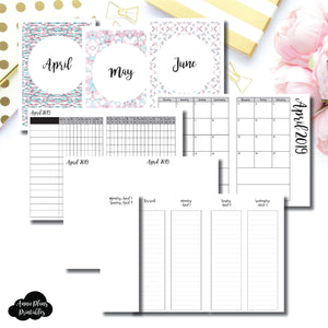 A6 TN Size | APR - JUN 2019 | Week on 4 Pages (Monday Start) LINED Vertical Layout | Printable Insert ©