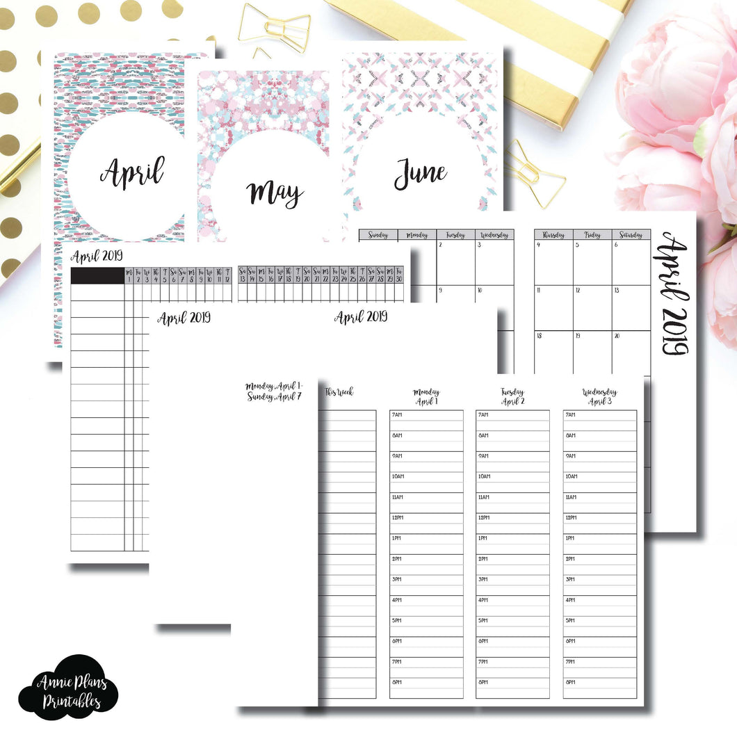 Personal TN Size | APR - JUN 2019 | Week on 4 Pages (Monday Start) TIMED Vertical Layout | Printable Insert ©