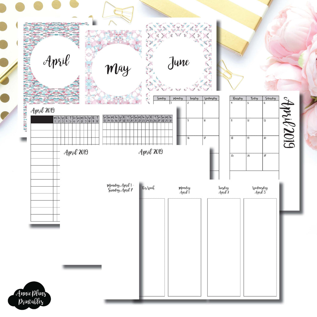 Pocket TN Size | APR - JUN 2019 | Week on 4 Pages (Monday Start) Vertical Layout | Printable Insert ©