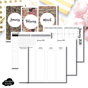 Personal TN Size | JAN - MAR 2020 | Week on 4 Pages (Monday Start) Vertical Layout | Printable Insert ©