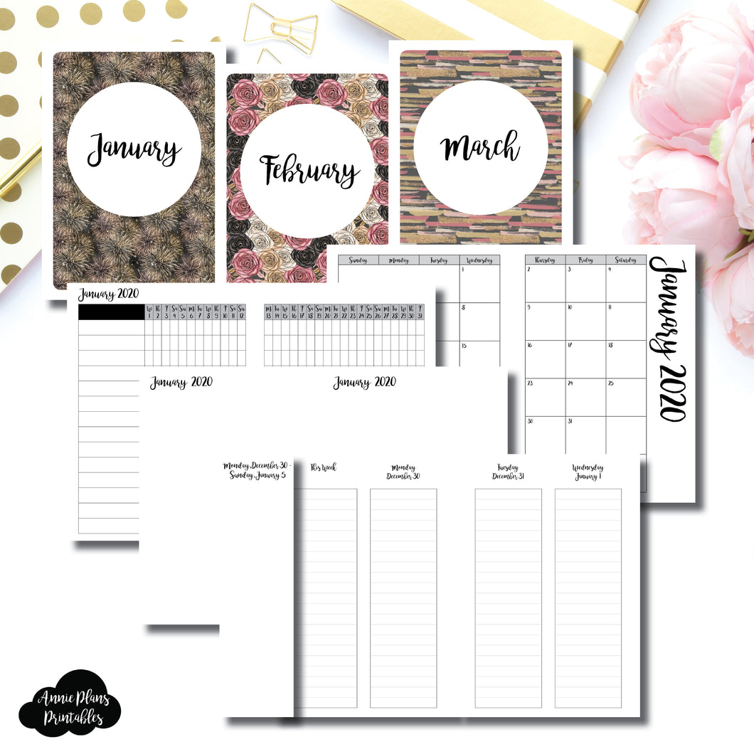 A6 TN Size | JAN - MAR 2020 | Week on 4 Pages (Monday Start) LINED Vertical Layout | Printable Insert ©