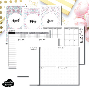PERSONAL TN Size | APR - JUN 2019 | Week on 4 Pages (Monday Start) Horizontal Layout | Printable Insert ©