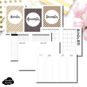 Personal Wide Rings Size | OCT - DEC 2019 | Week on 4 Pages (Monday Start) Vertical Layout | Printable Insert ©