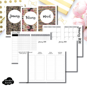 Pocket TN Size | JAN - MAR 2020 | Week on 4 Pages (Monday Start) LINED Vertical Layout | Printable Insert ©