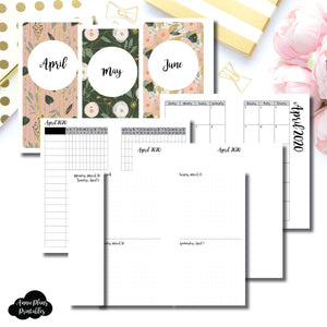 Personal Rings Size | APR - JUN 2020 | Week on 4 Pages (Monday Start) Horizontal Layout | Printable Insert ©