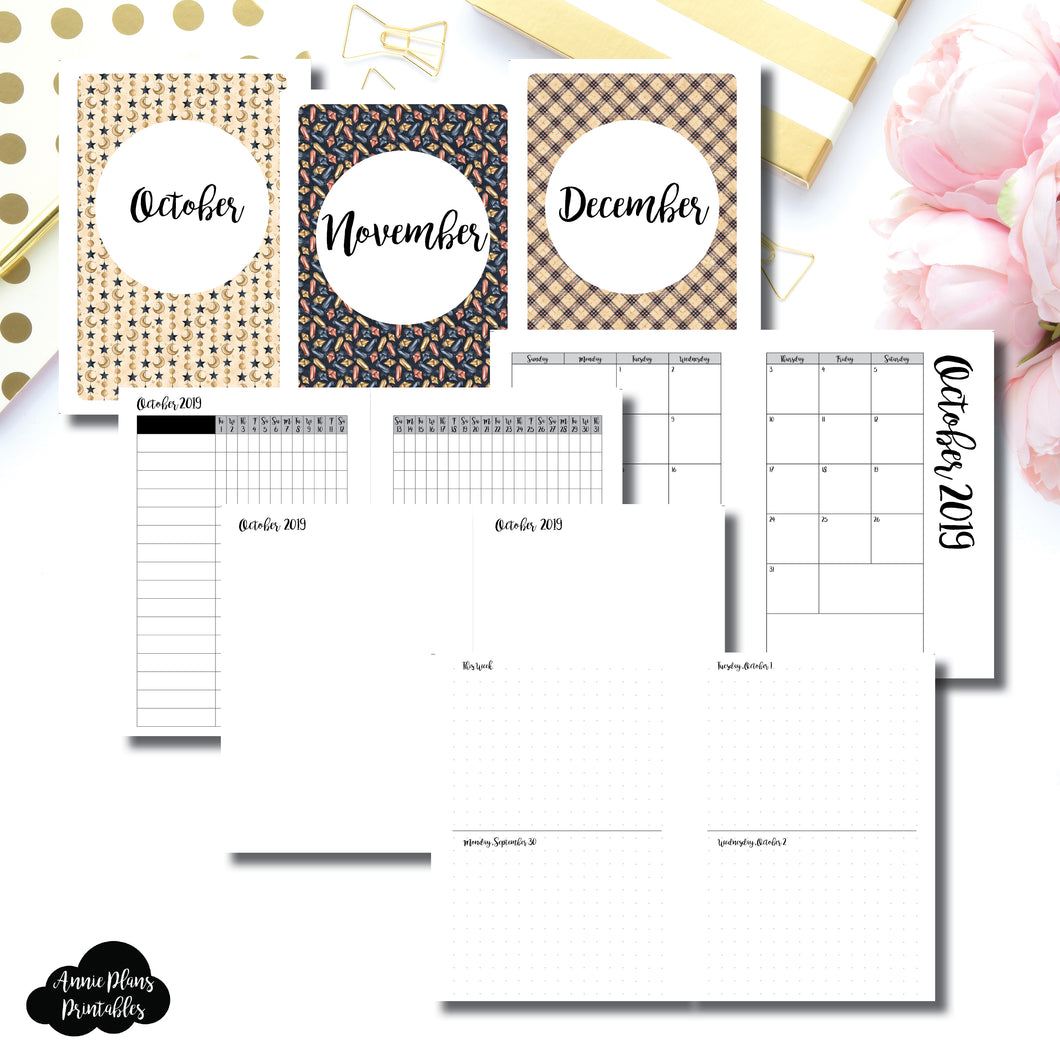 Personal Wide Rings Size | OCT - DEC 2019 | Week on 4 Pages (Monday Start) Horizontal Layout | Printable Insert ©