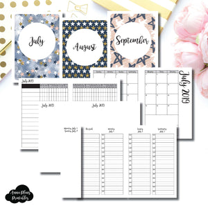 A6 TN Size | JUL - SEP 2019 | Week on 4 Pages (Monday Start) TIMED Vertical Layout | Printable Insert ©