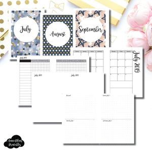 Personal Wide Rings Size | JUL - SEP 2019 | Week on 4 Pages (Monday Start) Horizontal Layout | Printable Insert ©