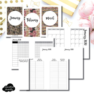 Pocket Rings Size | JAN - MAR 2020 | Week on 4 Pages (Monday Start) LINED Vertical Layout | Printable Insert ©