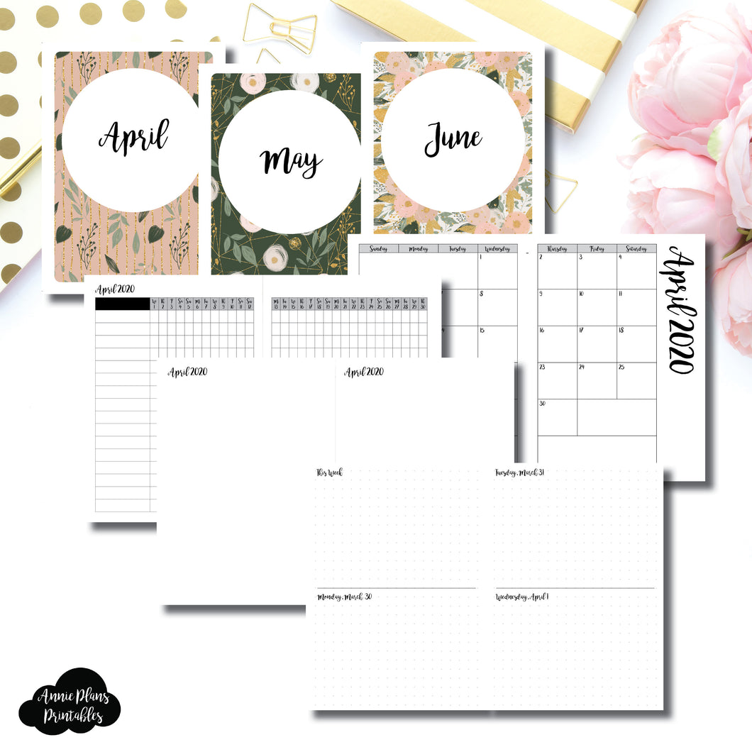 B6 TN Size | APR - JUN 2020 | Week on 4 Pages (Monday Start) Horizontal Layout | Printable Insert ©