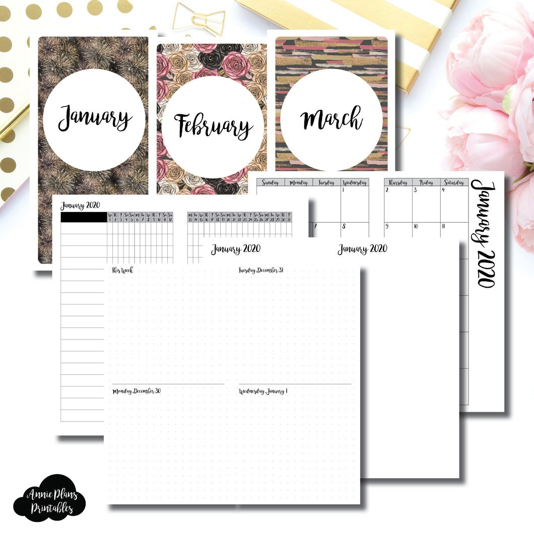 Standard TN Size | JAN - MAR 2020 | Week on 4 Pages (Monday Start) Horizontal Layout | Printable Insert ©