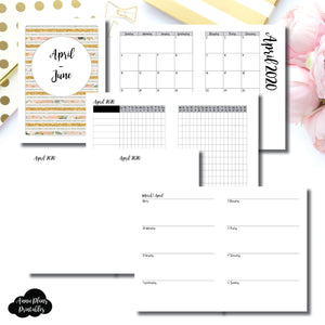 A5 Rings Size | APR  - JUN 2020 | Week on 2 Page (Monday Start) Horizontal Layout | Printable Insert ©