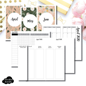 Personal TN Size | APR - JUN 2020 | Week on 4 Pages (Monday Start) Vertical Layout | Printable Insert ©