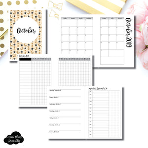 Personal Wide Rings Size | OCT 2019 | Month/Weekly/Daily TIMED (Monday Start) Printable Insert ©