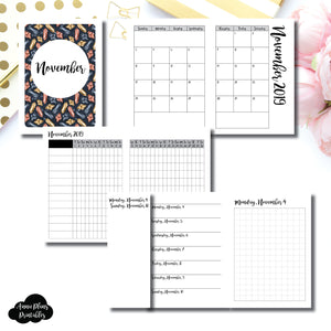 Passport TN Size | NOV 2019 | Month/Weekly/Daily GRID (Monday Start) Printable Insert ©