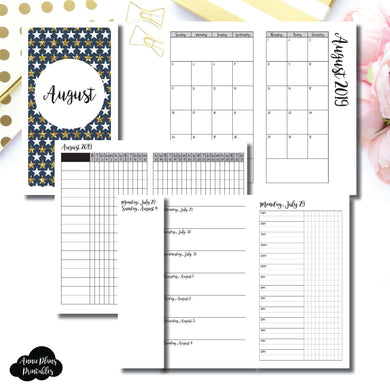 Personal TN Size | AUG 2019 | Month/Weekly/Daily TIMED (Monday Start) Printable Insert ©