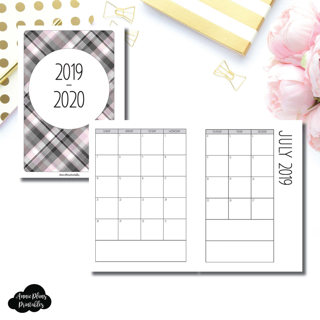 Personal Wide Rings Size | 2019 - 2020 SIMPLE FONT Academic Monthly Calendar (SUNDAY Start) PRINTABLE INSERT ©