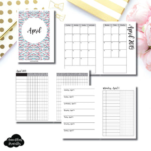 A6 Rings Size | APR 2019 | Month/Weekly/Daily UNTIMED (Monday Start) Printable Insert ©