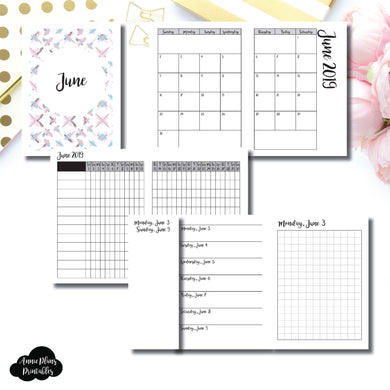 Passport TN Size | JUN 2019 | Month/Weekly/Daily GRID (Monday Start) Printable Insert ©