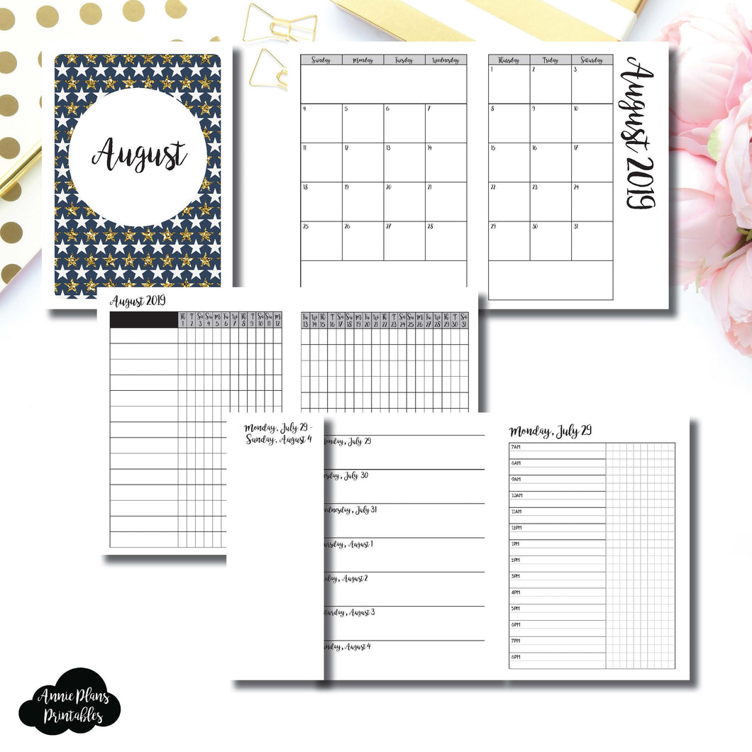 A6 TN Size | AUG 2019 | Month/Weekly/Daily TIMED (Monday Start) Printable Insert ©