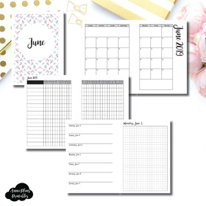 Personal Wide Rings Size | JUN 2019 | Month/Weekly/Daily GRID (Monday Start) Printable Insert ©