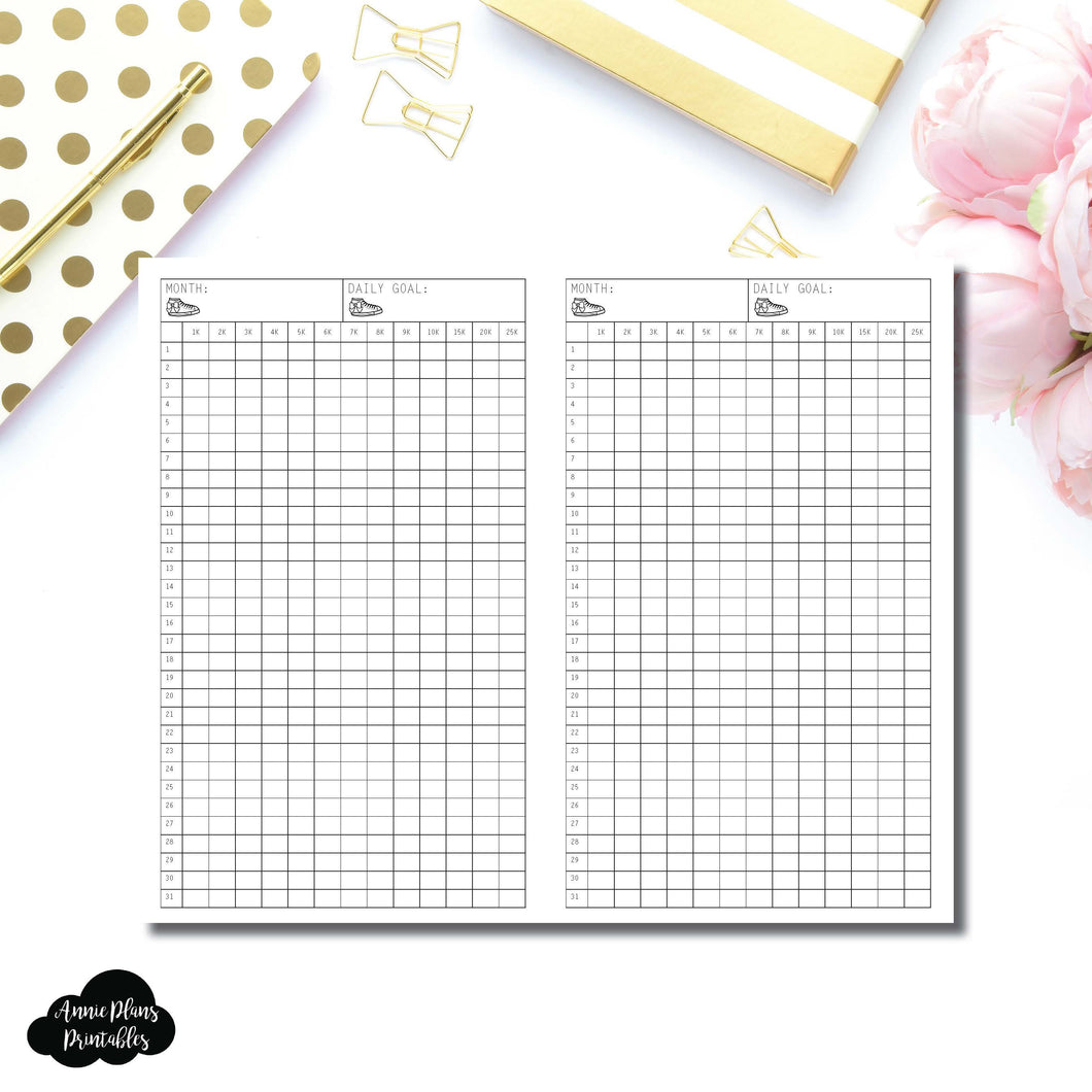 FREEBIE Half Letter Rings Size | Monthly Step Tracker Printable