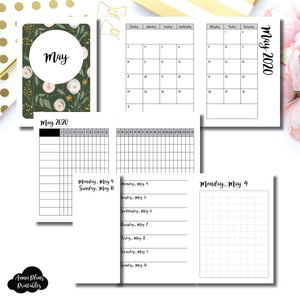 Micro TN Size | MAY 2020 | Month/Weekly/Daily GRID (Monday Start) Printable Insert ©