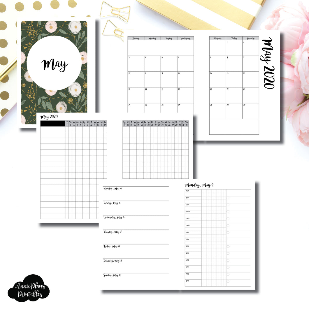 Personal Wide Rings Size | MAY 2020 | Month/Weekly/Daily 3 COLUMN TIMED (Monday Start) Printable Insert ©