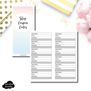 H Weeks Size | Shop Coupon Code Tracker Printable Insert ©