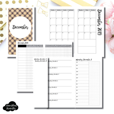 Personal TN Size | DEC 2019 | Month/Weekly/Daily TIMED (Monday Start) Printable Insert ©
