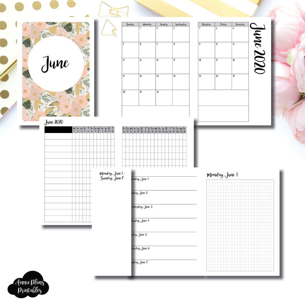 A6 TN Size | JUN 2020 | Month/Weekly/Daily GRID (Monday Start) Printable Insert ©