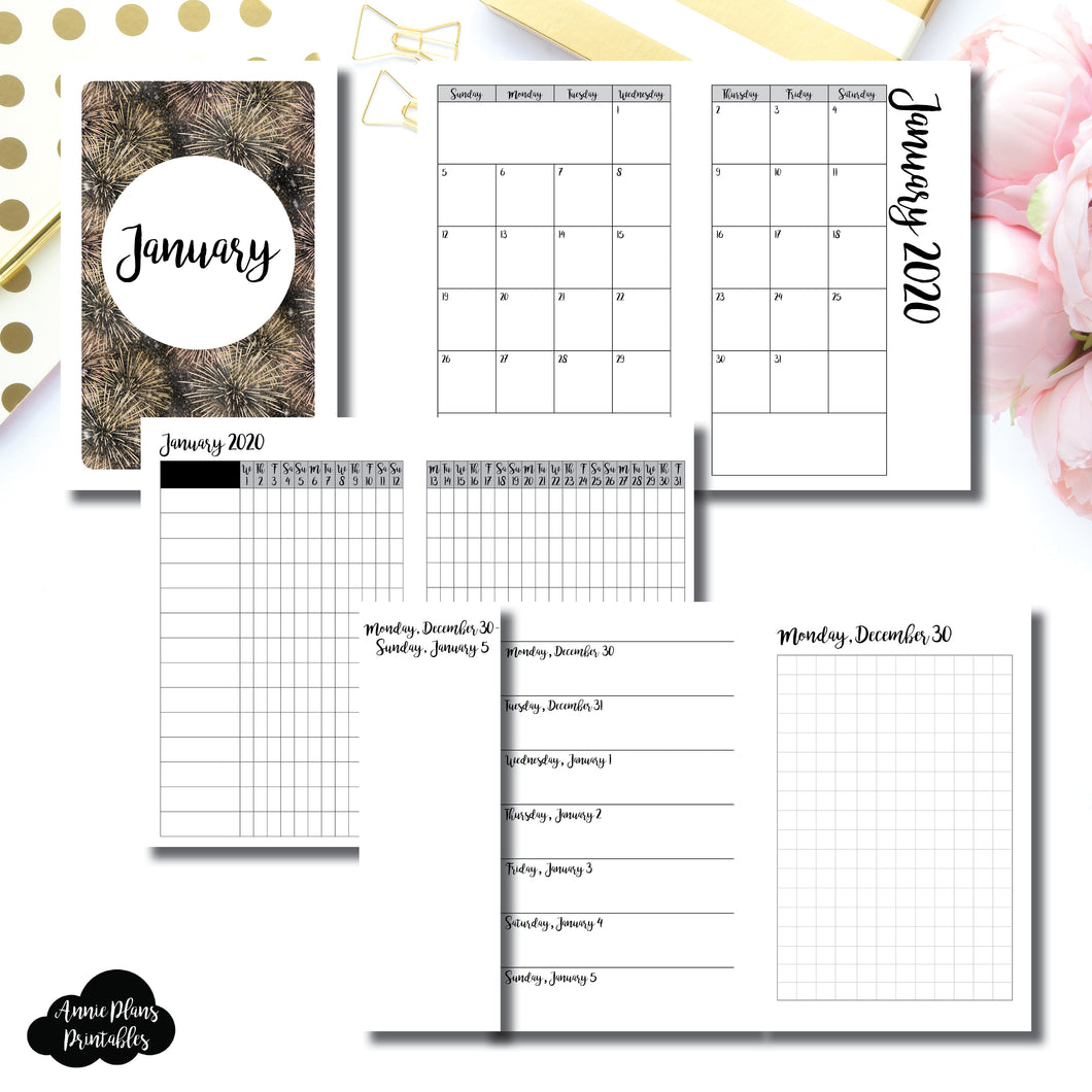 Pocket TN Size | JAN 2020 | Month/Weekly/Daily GRID (Monday Start) Printable Insert ©