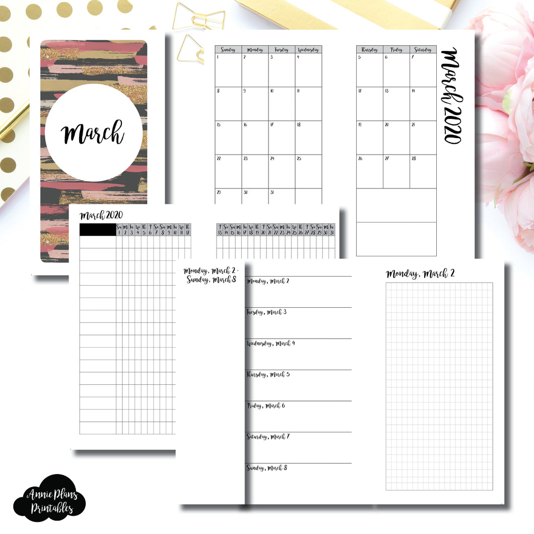 Personal Rings Size | MAR 2020 | Month/Weekly/Daily GRID (Monday Start) Printable Insert ©