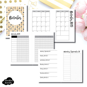 Pocket Rings Size | OCT 2019 | Month/Weekly/Daily UNTIMED (Monday Start) Printable Insert ©