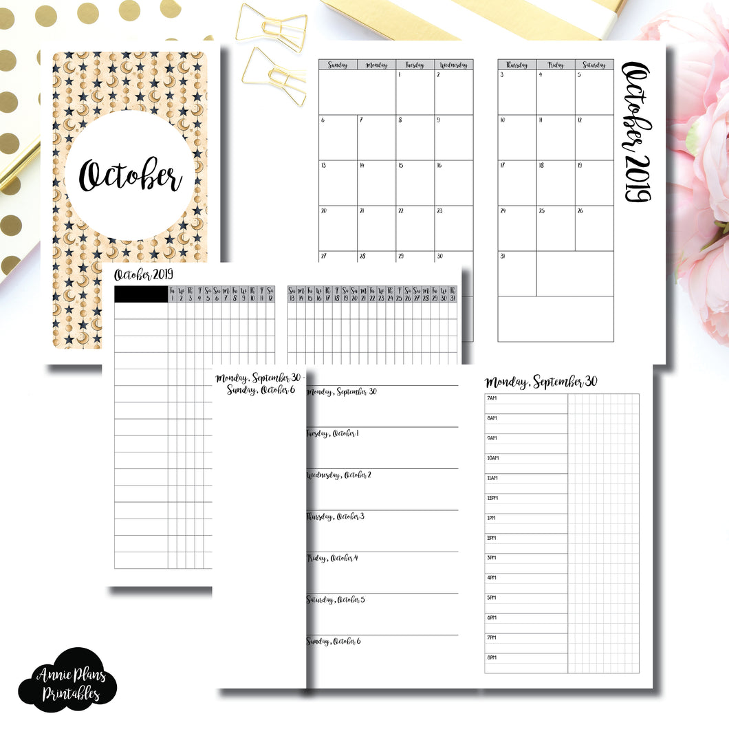 Personal TN Size | OCT 2019 | Month/Weekly/Daily TIMED (Monday Start) Printable Insert ©