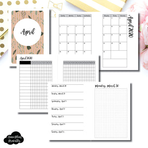 Pocket Plus Rings Size | APR 2020 | Month/Weekly/Daily GRID (Monday Start) Printable Insert ©