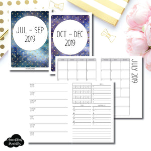 A6 TN Size | JUL - SEP & OCT - DEC 2019 | Week on 1 Page (Monday Week Start) With Trackers + Lists Printable Insert ©