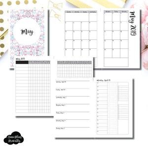 Half Letter Rings Size | MAY 2019 | Month/Weekly/Daily 3 COLUMN TIMED (Monday Start) Printable Insert ©