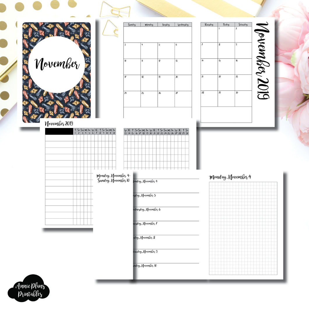 A6 TN Size | NOV 2019 | Month/Weekly/Daily GRID (Monday Start) Printable Insert ©