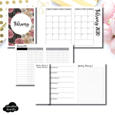 A6 TN Size | FEB 2020 | Month/Weekly/Daily GRID (Monday Start) Printable Insert ©